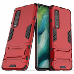 Slim Armour Tough Shockproof Case & Stand for Oppo Find X2 Pro - Red