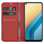 Leather Wallet Case & Card Holder Pouch for Vivo Y30 - Red
