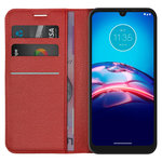 Leather Wallet Case & Card Holder Pouch for Motorola Moto E6s - Red