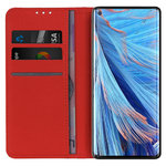 Leather Wallet Case & Card Holder Pouch for Oppo Find X2 Neo - Red