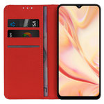 Leather Wallet Case & Card Holder Pouch for Oppo Find X2 Lite - Red