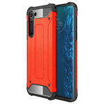 Military Defender Tough Shockproof Case for Motorola Edge - Red