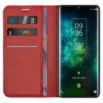Leather Wallet Case & Card Holder Pouch for TCL 10 Pro - Red