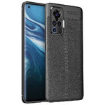 Flexi Slim Litchi Texture Case for Vivo X50 Pro - Black Stitch
