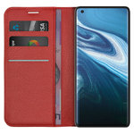 Leather Wallet Case & Card Holder Pouch for Vivo X50 Pro - Red