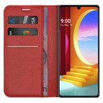 Leather Wallet Case & Card Holder Pouch for LG Velvet 5G - Red