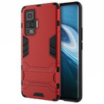 Slim Armour Tough Shockproof Case & Stand for Vivo X50 Pro - Red