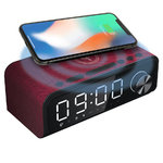 Laser (4-in-1) Qi Wireless Charger / Alarm Clock / FM Radio / Bluetooth Speaker - Red