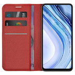 Leather Wallet Case & Card Holder Pouch for Xiaomi Redmi Note 9 Pro - Red