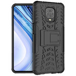 Dual Layer Rugged Shockproof Case & Stand for Xiaomi Redmi Note 9 Pro - Black