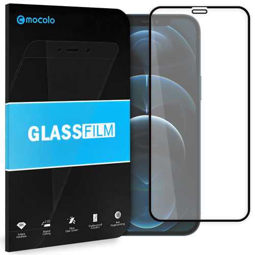 Full Coverage Tempered Glass Screen Protector for Apple iPhone 12 Pro Max - Black