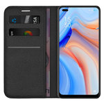 Leather Wallet Case & Card Holder Pouch for Oppo Reno4 5G - Black