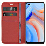 Leather Wallet Case & Card Holder Pouch for Oppo Reno4 5G - Red