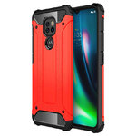 Military Defender Tough Shockproof Case for Motorola Moto G9 Play - Red