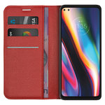Leather Wallet Case & Card Holder Pouch for Motorola Moto G 5G Plus - Red