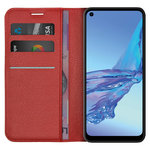 Leather Wallet Case & Card Holder Pouch for Oppo A53 / A53s - Red