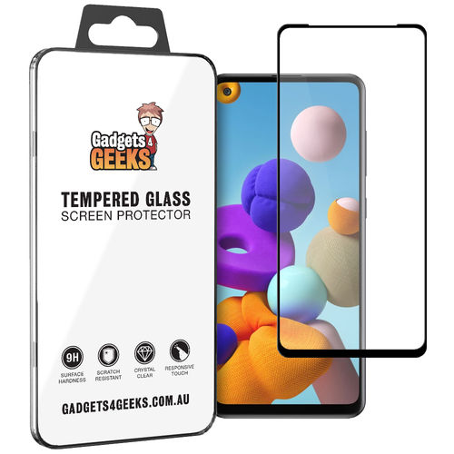 Full Coverage Tempered Glass Screen Protector for Samsung Galaxy A21s - Black