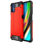 Military Defender Tough Shockproof Case for Motorola Moto G9 Plus - Red