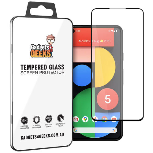 Full Coverage Tempered Glass Screen Protector for Google Pixel 5 - Black