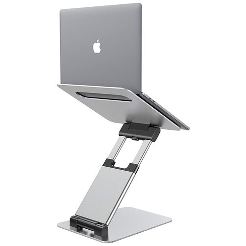 Aluminium (Large) Adjustable Height / Angle Desktop Stand for MacBook / Laptop - Silver