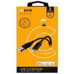 EFM (MFi Approved) USB Lightning Cable (2m) for iPhone / iPad - Black