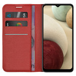 Leather Wallet Case & Card Holder Pouch for Samsung Galaxy A12 - Red