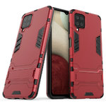 Slim Armour Tough Shockproof Case & Stand for Samsung Galaxy A12 - Red