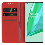 Leather Wallet Case & Card Holder Pouch for OnePlus 9 Pro - Red