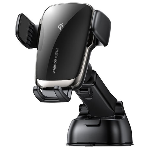 Joyroom (15W) Fast Wireless Charger / Auto Self-Aligning / Suction Car Mount Holder