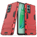 Slim Armour Tough Shockproof Case & Stand for OnePlus 9 Pro - Red