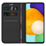 Leather Wallet Case & Card Holder Pouch for Samsung Galaxy A52 - Black