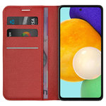 Leather Wallet Case & Card Holder Pouch for Samsung Galaxy A52 - Red