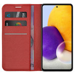 Leather Wallet Case & Card Holder Pouch for Samsung Galaxy A72 - Red