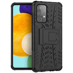 Dual Layer Rugged Tough Case & Stand for Samsung Galaxy A52 - Black