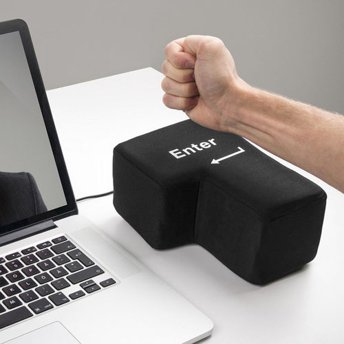 Super Size Big Enter Key / USB Anti Stress Desktop Pillow / Punch Bag