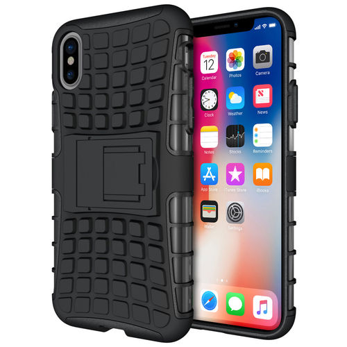 Dual Layer Rugged Tough Shockproof Case - Apple iPhone X / Xs - Black