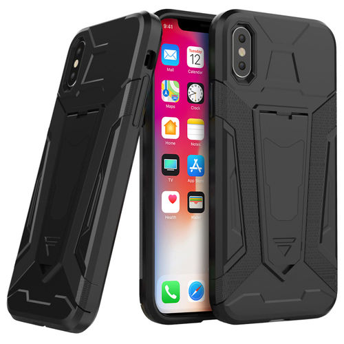 Slim Guard Plated Shockproof Case Stand - Apple iPhone X / Xs - Black