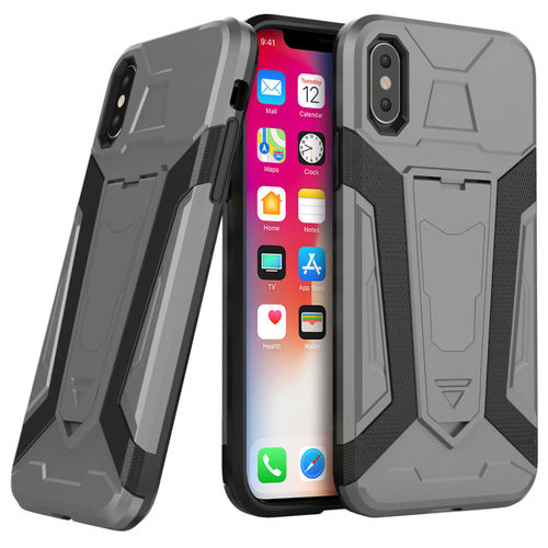 Slim Guard Plated Shockproof Case Stand - Apple iPhone X / Xs - Silver