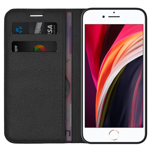 Leather Wallet Case & Card Pouch for Apple iPhone 8 / 7 / SE (2nd Gen) - Black