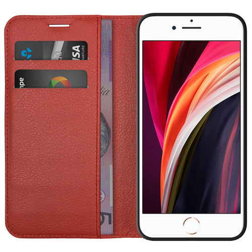 Leather Wallet Case & Card Pouch for Apple iPhone 8 / 7 / SE (2nd Gen) - Red