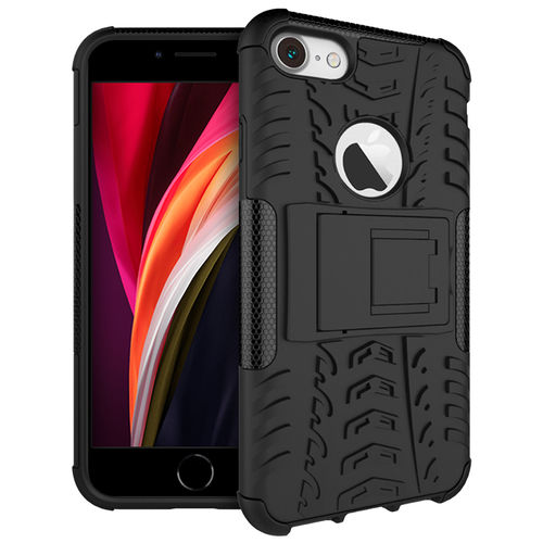 Dual Layer Rugged Tough Case & Stand for Apple iPhone 8 / 7 / SE (2nd Gen) - Black