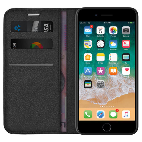 Leather Wallet Case & Card Holder Pouch for Apple iPhone 8 Plus / 7 Plus - Black