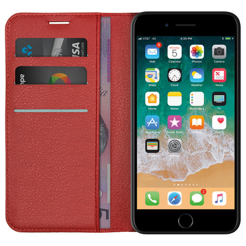 Leather Wallet Case & Card Holder Pouch for Apple iPhone 8 Plus / 7 Plus - Red