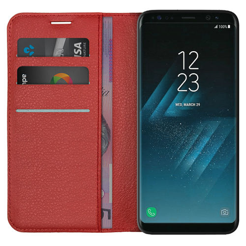 Leather Wallet Case & Card Slot Holder for Samsung Galaxy S8 - Red