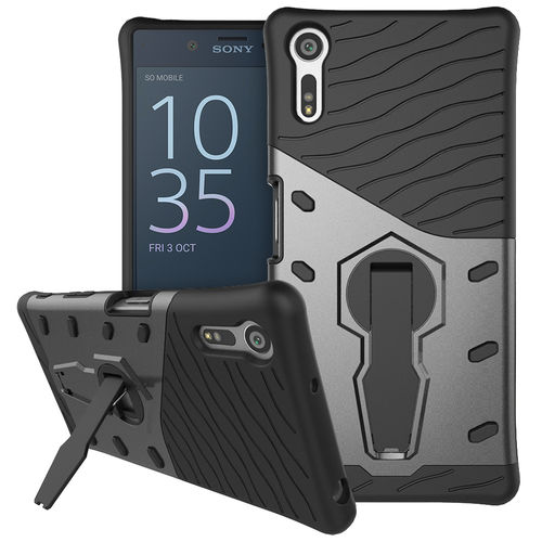 Slim Shield Tough Shockproof Case & Stand for Sony Xperia XZ - Grey