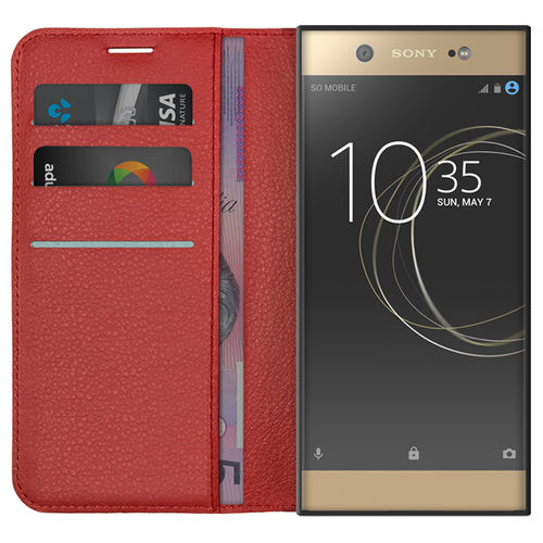 Leather Wallet Case & Card Holder Pouch for Sony Xperia XA1 Ultra - Red
