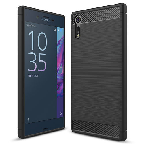 Flexi Slim Carbon Fibre Case for Sony Xperia XZ - Brushed Black