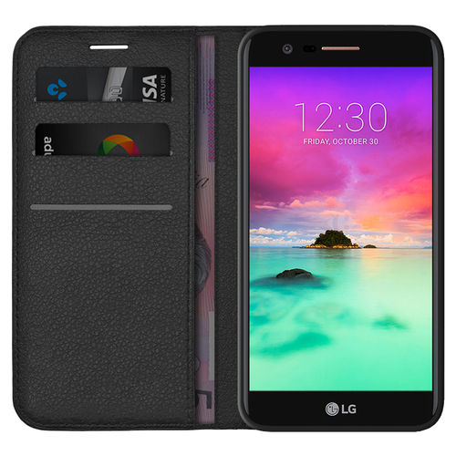 Leather Wallet Case & Card Holder Pouch for LG K10 (2017) - Black