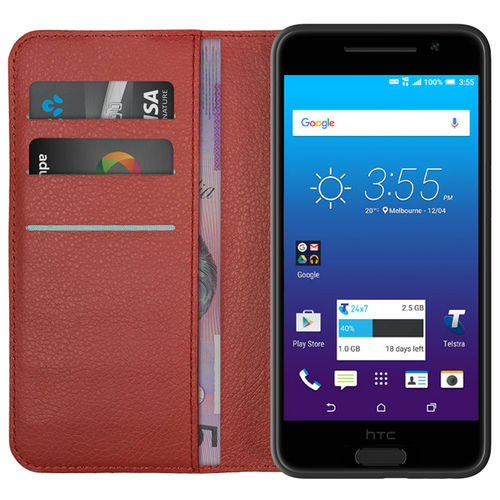 Leather Wallet Case for Telstra Signature Premium / HTC One A9 - Red