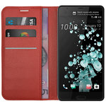 Leather Wallet Case & Card Holder Pouch for HTC U Ultra - Red